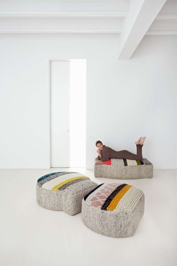 cozy crochet colorful pieces shaped as fish and other stuff are nice as daybeds, seats or ottomans