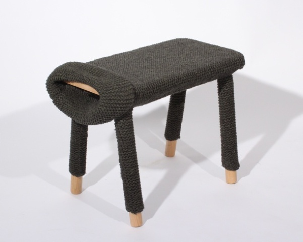dress up a usual stool into a sweater with long sleeves to make it super cool and very cozy