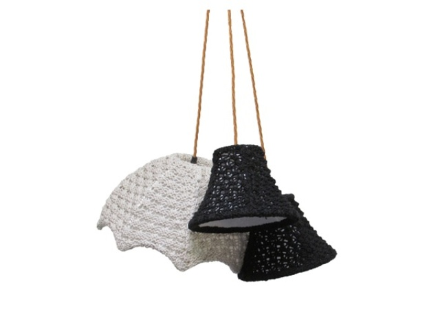 pendant lamps with various crochet lampshades will cozy up your space and make it wintry