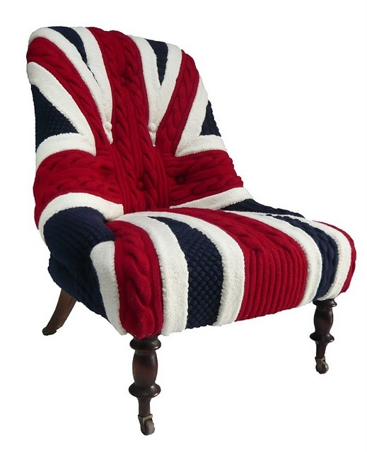 a fabulous British flag knit chair with refined legs is a fantastic accent piece that won't let you go