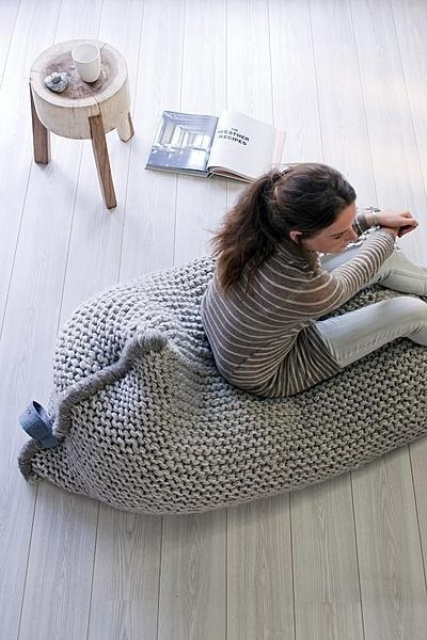 a large chunky knit beanbag chair is a fantastic idea to rock during cold days, it will bring your comfort