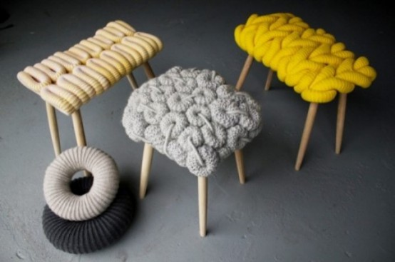 colorful knit stools will bring warmth, coziness and a cool modern feel to the space