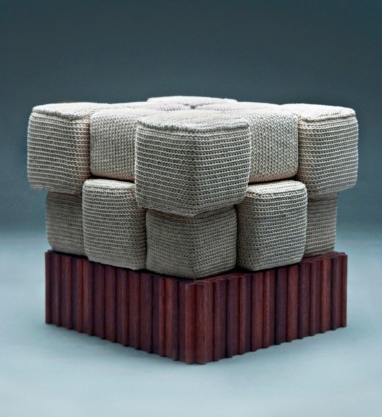 a gorgeous oversized crochet cube seat or sofa like this one will be a cozy piece and a serious conversation starter at the same time