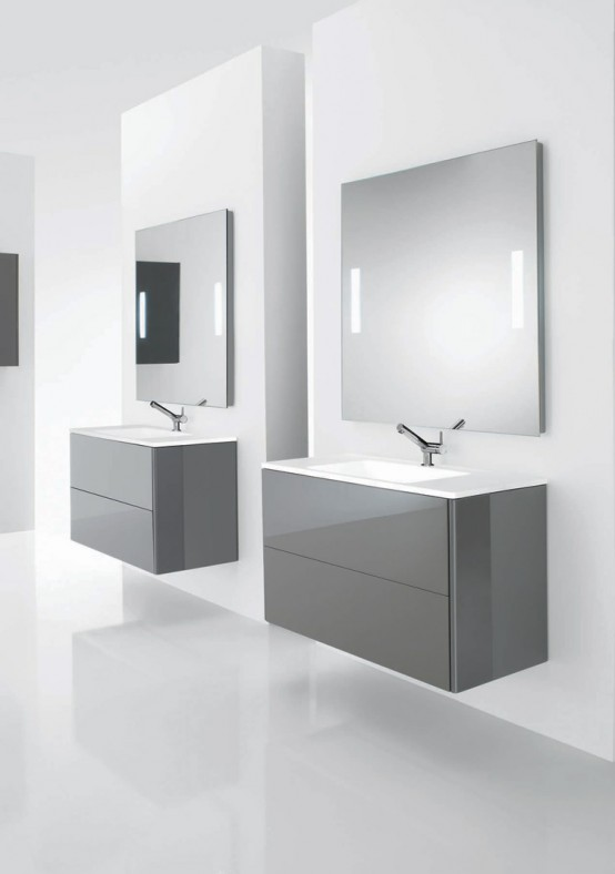 Soft Minimalist Functional Bathroom Furniture
