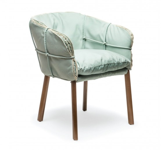 Soft Wrapped Parchment Armchair In Mint Green