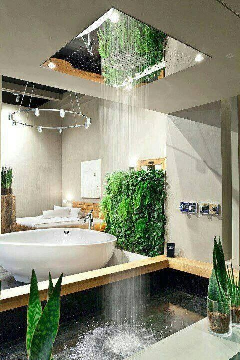 a bathtub and a small pool with a waterfall shower can be opened up to outdoors