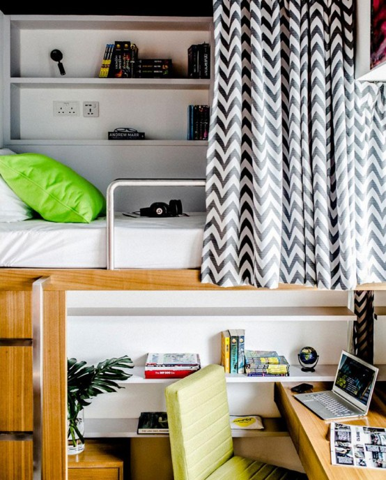 Space Efficient Student Apartment In Bold Colors