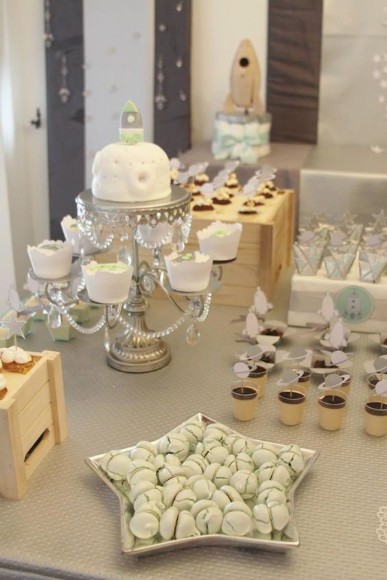 space themed dessert table for a modern baby shower