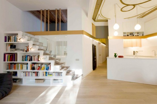 Flat with Smart Mezzanines of Storage and Art Craft Ceiling – SANTPERE47 by Miel Architects