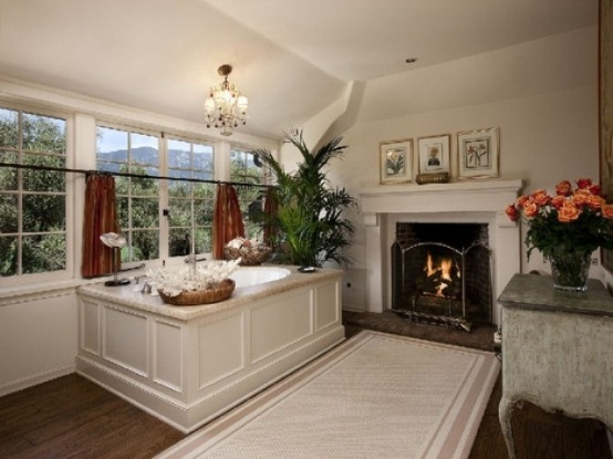 Spectacular Bathrooms With Fireplaces
