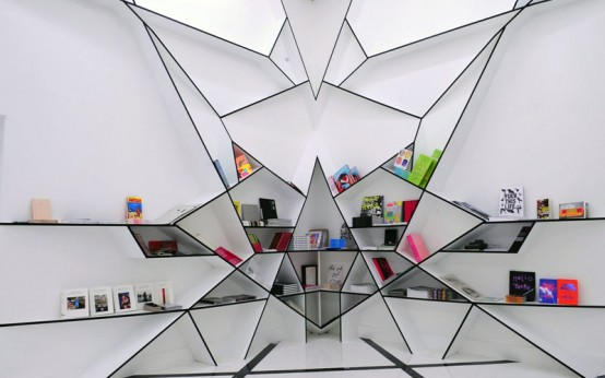 Futuristic Bookcase Design That Reminds Spider's Web