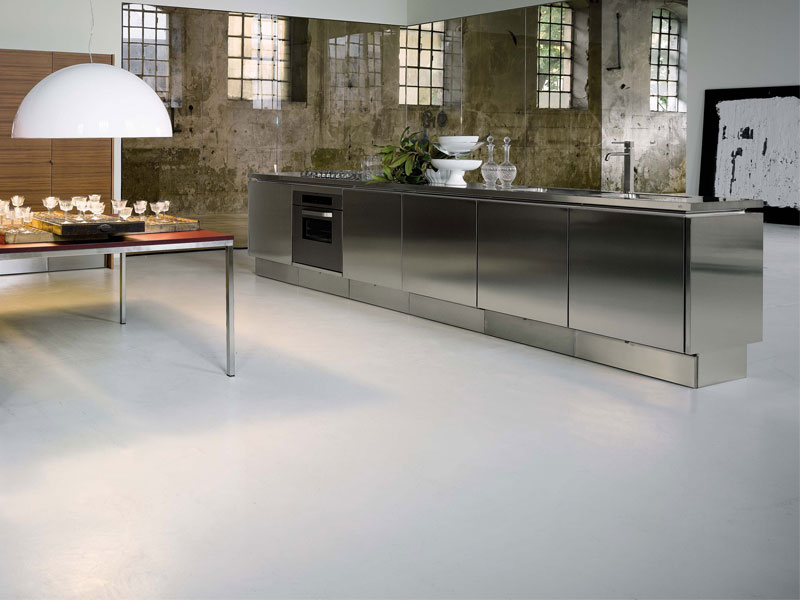 Stainless steel kitchen cabinets e5 from elam digsdigs for Stainless steel kitchen designs