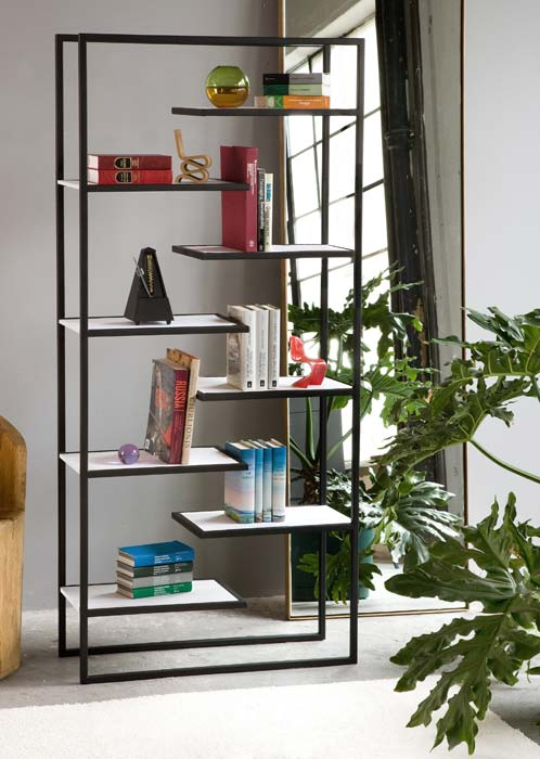 Minimalist steel bookcases with corian or bamboo shelves for Minimalist household items