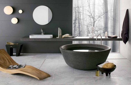 4 Gorgeous Stone Bathtubs by Neutra