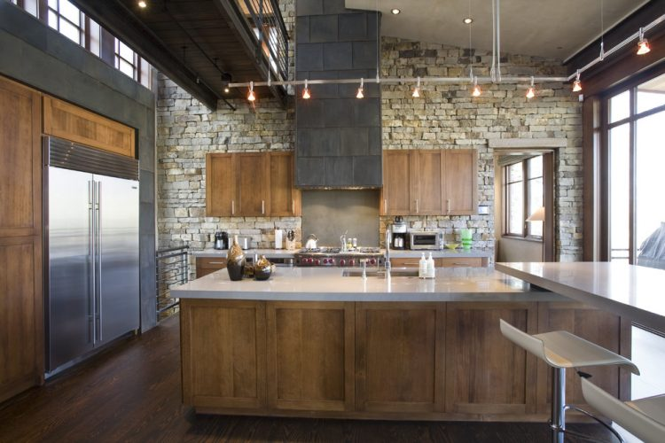 stone covered walls is another way to go for an industrial kitchen - Industrial Kitchen