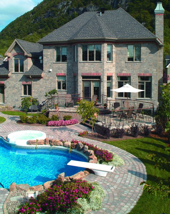 25 Stone Pool Deck Design Ideas | DigsDigs on Backyard Pool Decor Ideas id=22142
