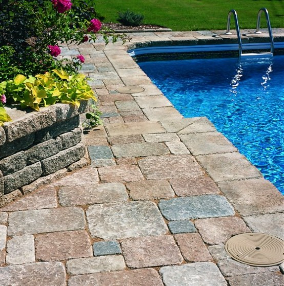 25 Stone Pool Deck Design Ideas - DigsDigs