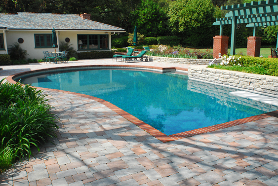 25 stone pool deck design ideas digsdigs for In ground pool deck ideas