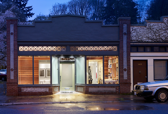 Storefront remodeled into live work place with modern for Shop front design ideas
