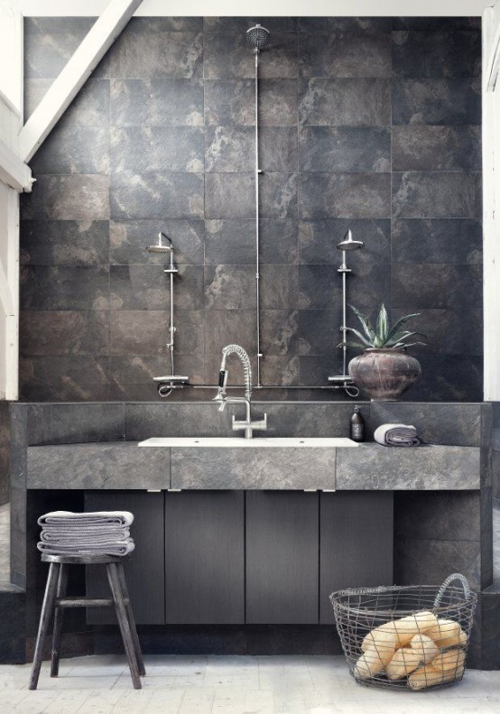 Basement Interior Design: 25 Industrial Bathroom Designs With Vintage Or Minimalist