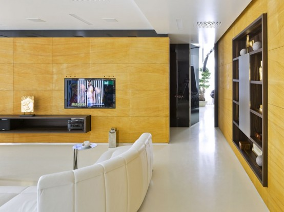 Striking Minimalist Space In White Yellow And Dark Wood