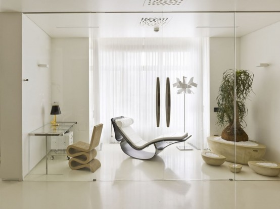Striking Minimalist Living Space In White, Yellow And Dark Wood
