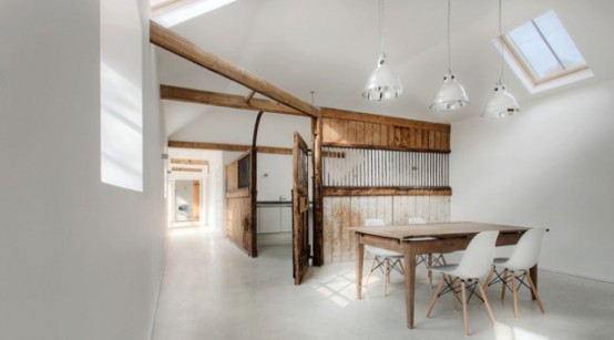 Striking Stable To Home Conversion With Old Wooden Beams Left