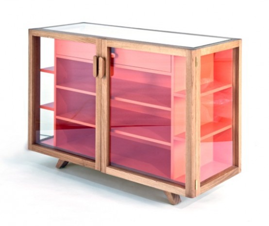 Striking Vitrina Cabinet And Shelving Unit In Bright Colors
