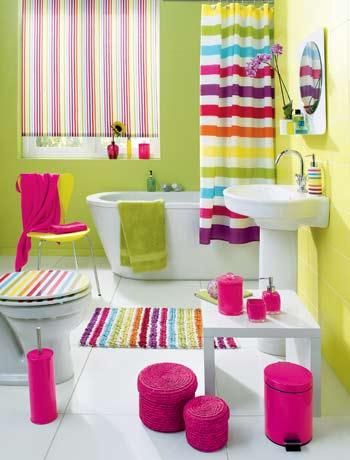 Trend Stripped Colorful Bathroom