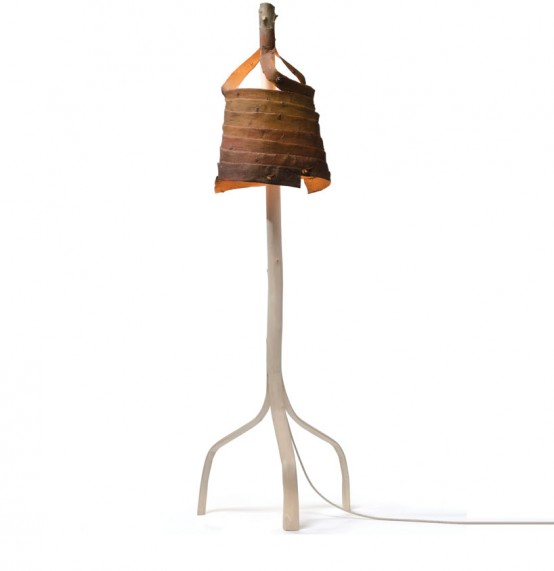 Stripped Lamp Of Birch Branches And Bark