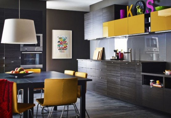 stunning black kitchen design with yellow touches digsdigs. Black Bedroom Furniture Sets. Home Design Ideas