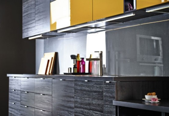 Stunning Black Kitchen Design With Yellow Touches DigsDigs