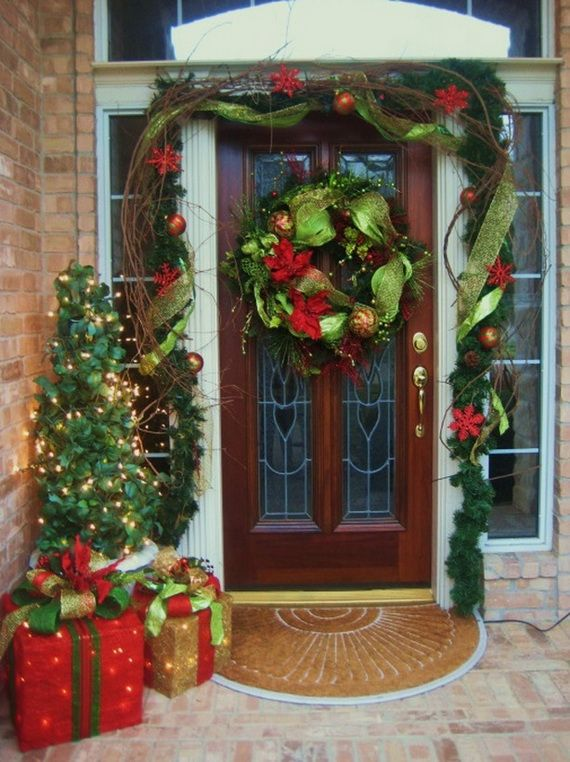 Www Christmas Ideas Decorations For Living Room: 38 Stunning Christmas Front Door Décor Ideas