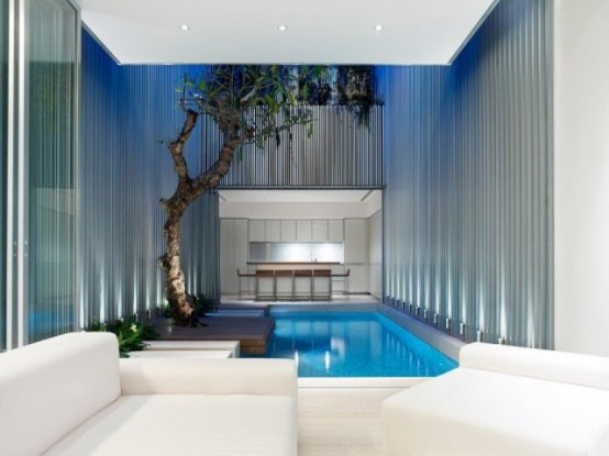 an indoor pool with some plants and a tree growing from a platform is a cool idea for relaxation