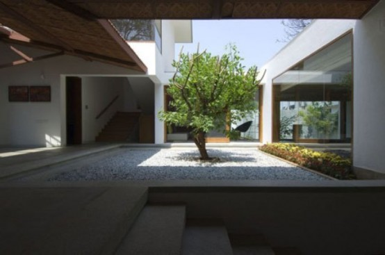 some greenery and a single tree growing in the center of the courtyard make the space feel outdoor and very alive