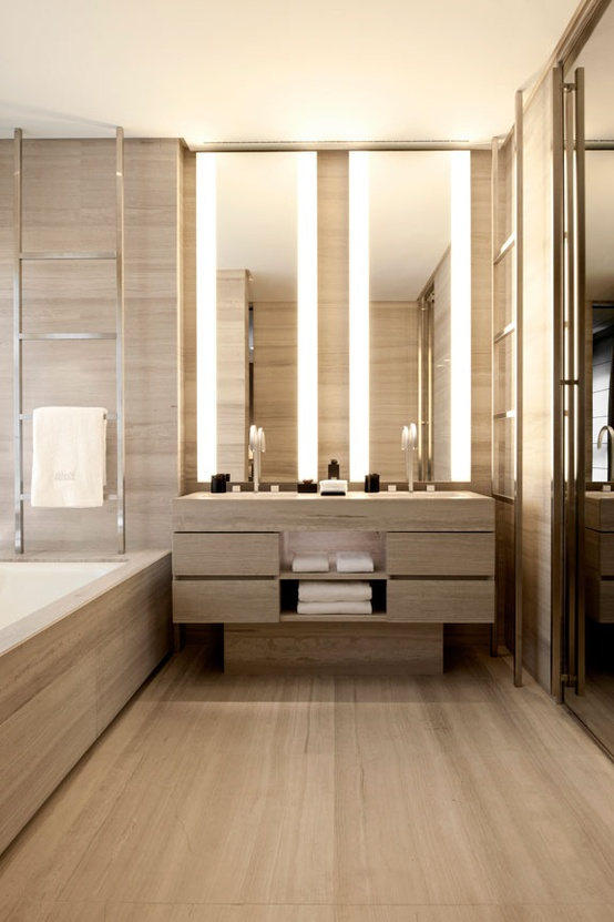 45 stylish and cozy wooden bathroom designs digsdigs for Bathroom lighting designs