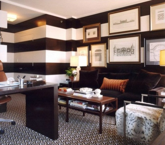 Decorating With Stripes For A Stylish Room: 33 Stylish And Dramatic Masculine Home Office Design Ideas
