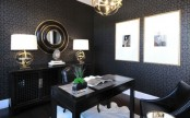 a moody black and white home office design