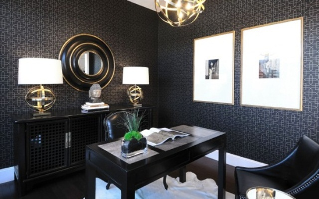 33 stylish and dramatic masculine home office design ideas for Zen office design ideas