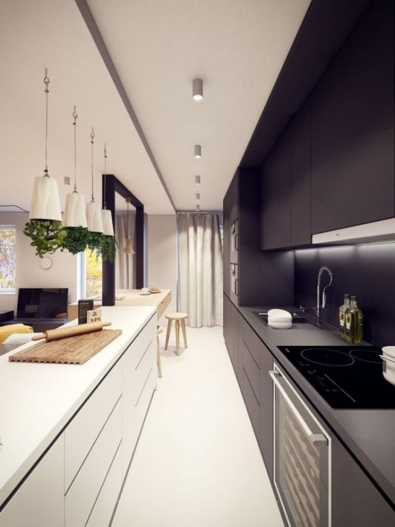 Stylish And Functional Super Narrow Kitchen Design Ideas