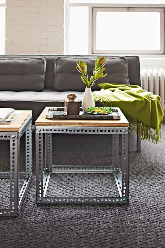 gorgeous industrial coffee table of perforated metal and wood add an industrial touch