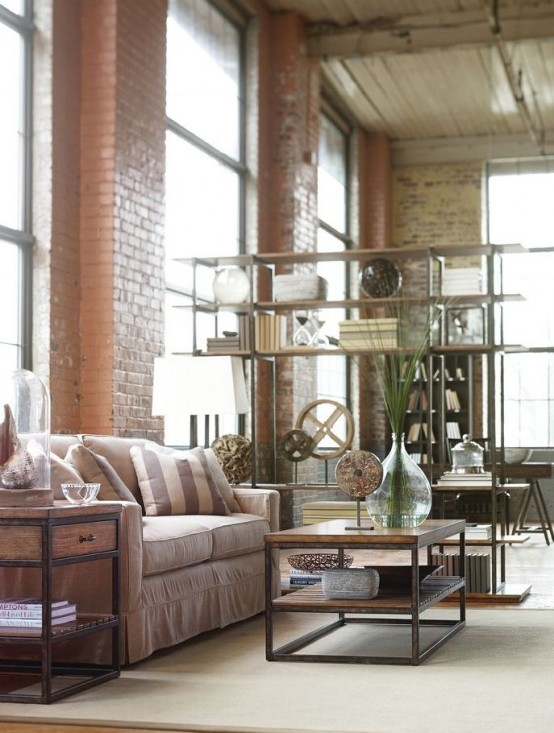 30 Stylish And Inspiring Industrial Living Room Designs