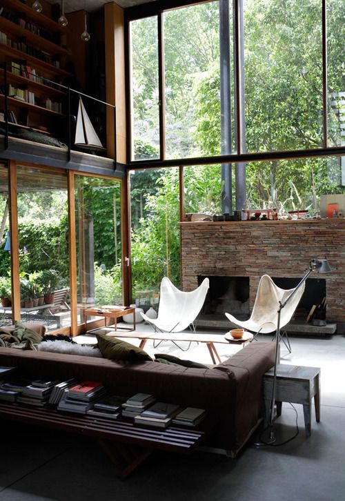 30 stylish and inspiring industrial living room designs for Garden glass house designs