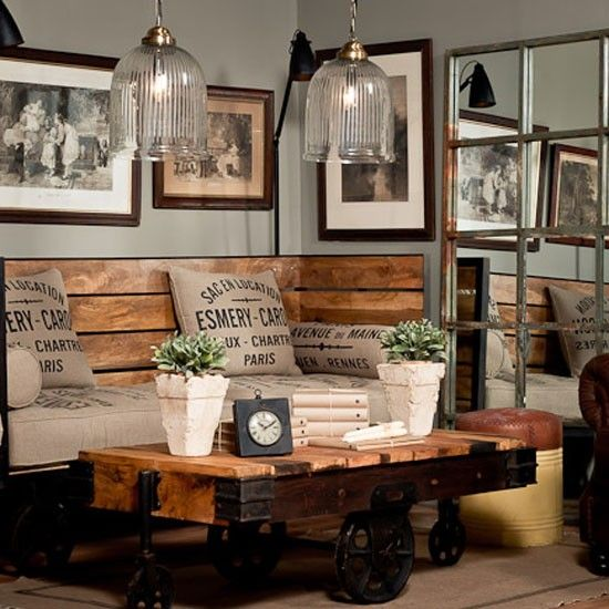30 stylish and inspiring industrial living room designs for Decoration murale hipster
