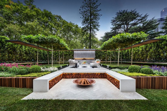 Stylish modern garden and terrace design by nathan burkett for Home terrace garden design