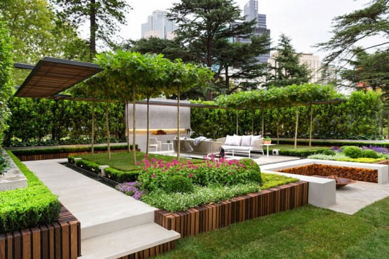 Stylish modern garden and terrace design by nathan burkett for Modern backyard landscaping