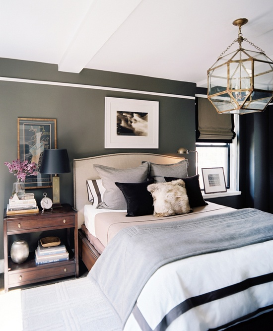 a combination of neutral dark and clean white colors is a safe way to go - Stylish Bedroom Decor