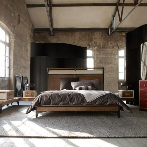 This bedroom is a great example of loft-like bachelor pad. Choosing an  rustic