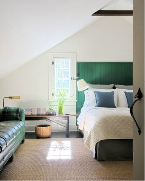 Green is a safe color choice for a masculine interior.