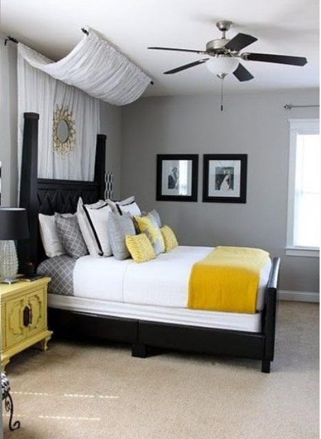 Even though yellow isn't the most obvious choice for a guy's bedroom you might pull it off in contemporary interior.